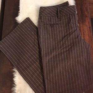Ann Taylor Loft Brown Pinstriped Pants A30